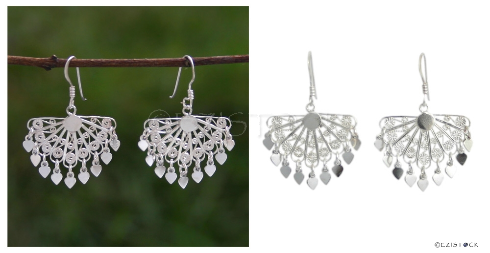 Sterling silver chandelier earrings, 'Tropical Fans'