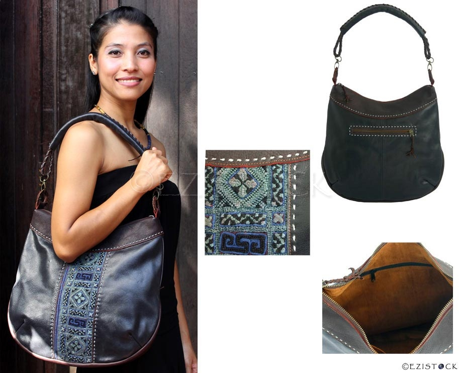 Leather and cotton shoulder bag, 'Hill Tribe Chic' - Click Image to Close