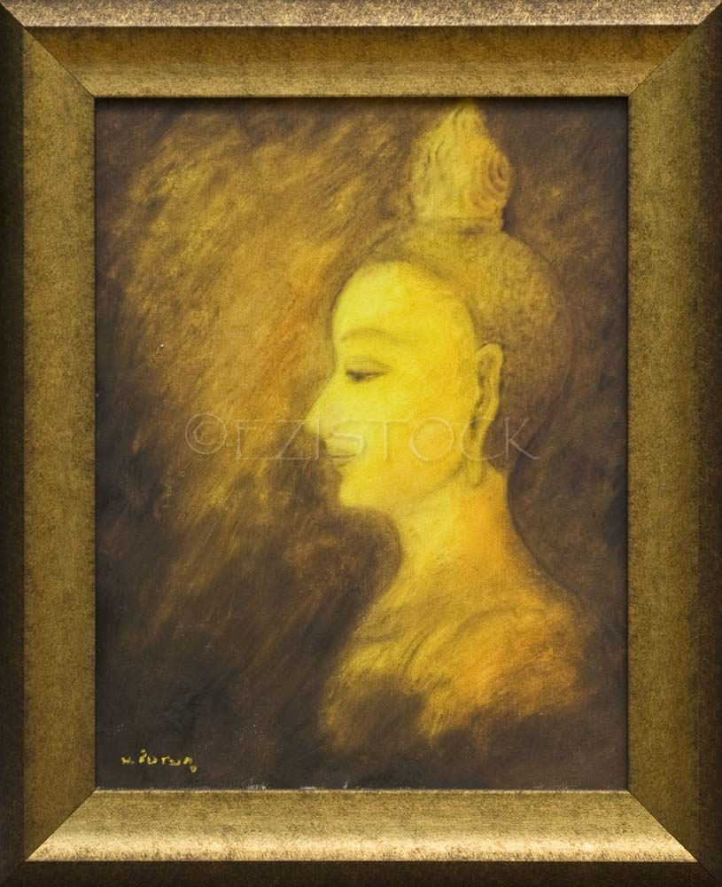 Oil on canvas, 'Buddha Face 3' - Click Image to Close
