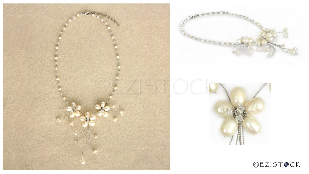 Pearl and glass flower necklace, 'White Sisters' - Click Image to Close