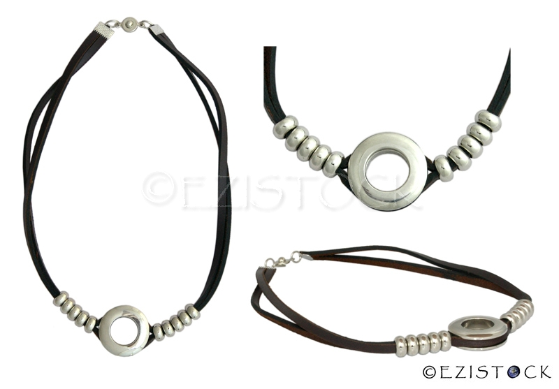 Leather necklace, 'Life Balance' - Click Image to Close