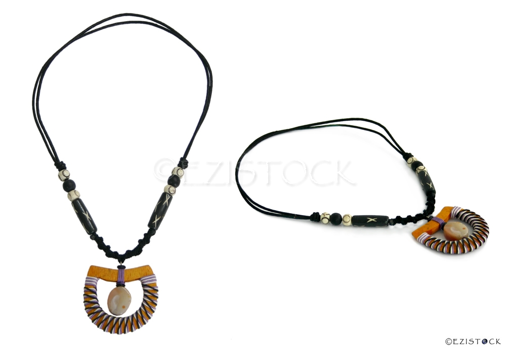 Kapok wood and quartz necklace, 'Yellow Swing' - Click Image to Close