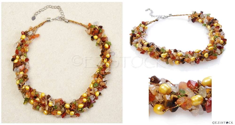 Carnelian and tiger eye necklace, 'Siamese Delight' - Click Image to Close