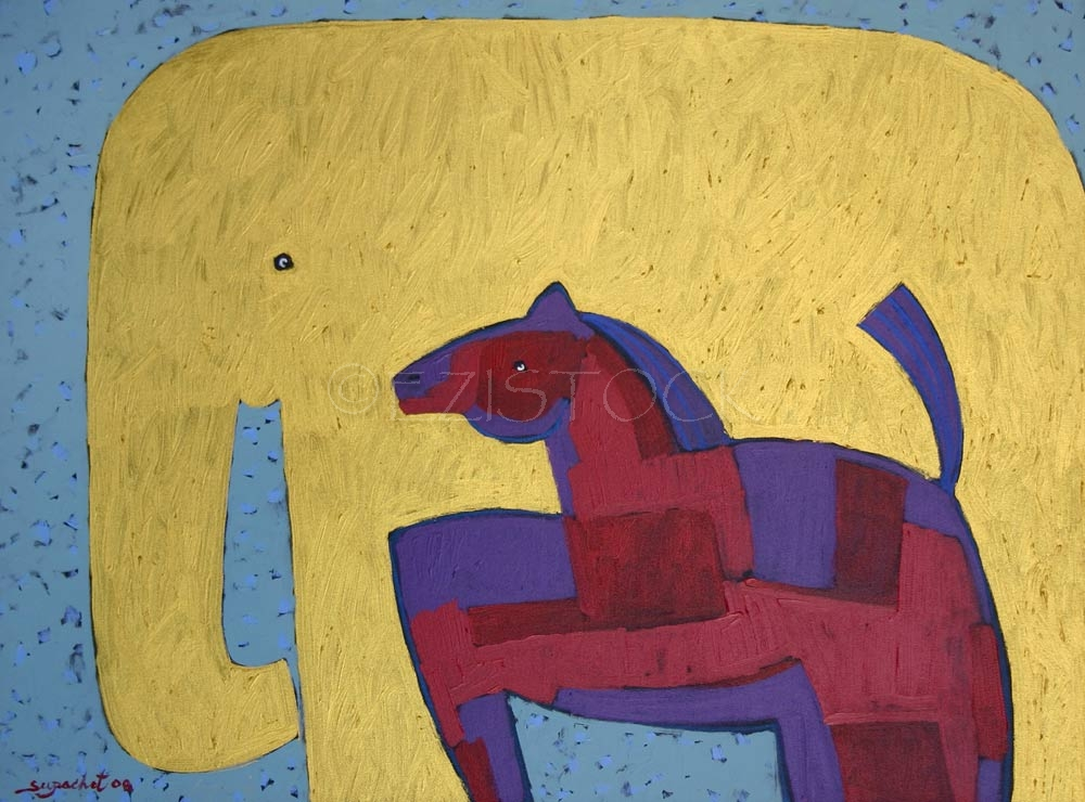 Acrylic on canvas, 'Golden Elephant' - Click Image to Close