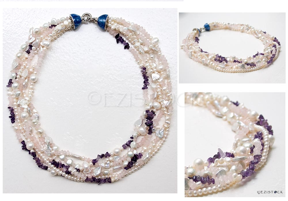 Pearl, rose quartz and amethyst necklace, 'Femininity' - Click Image to Close