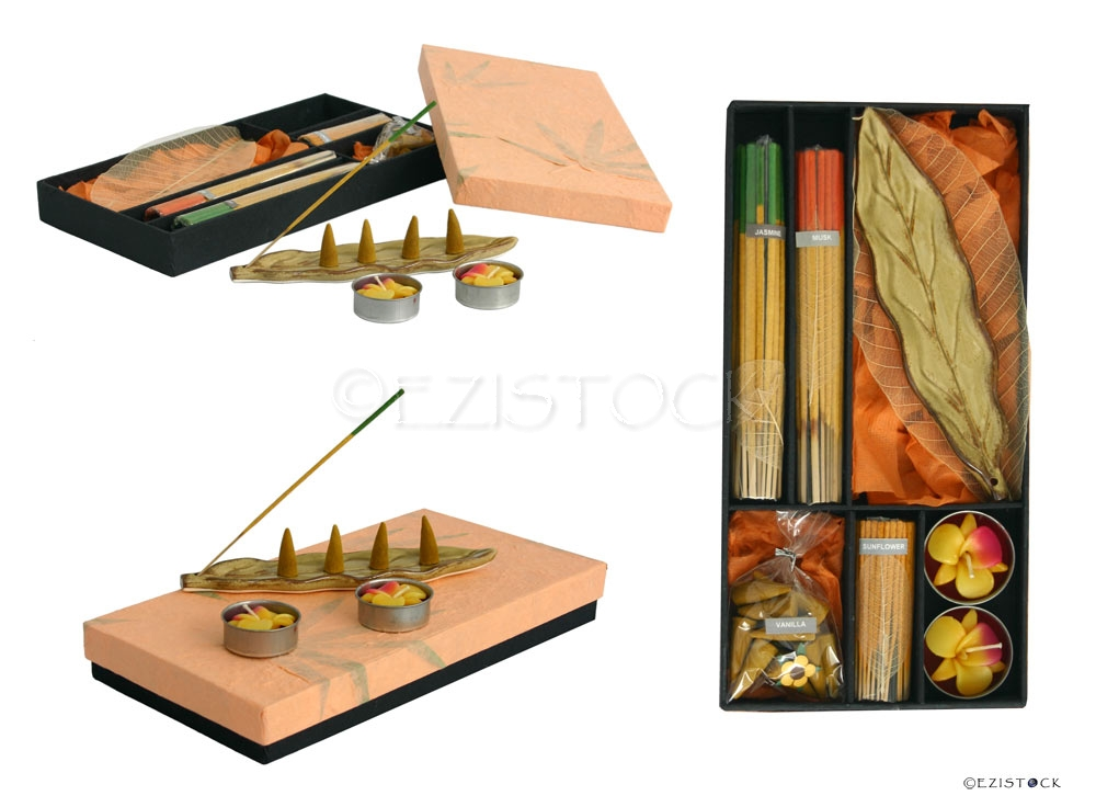 Incense and candle set, 'Brown Leaf' - Click Image to Close
