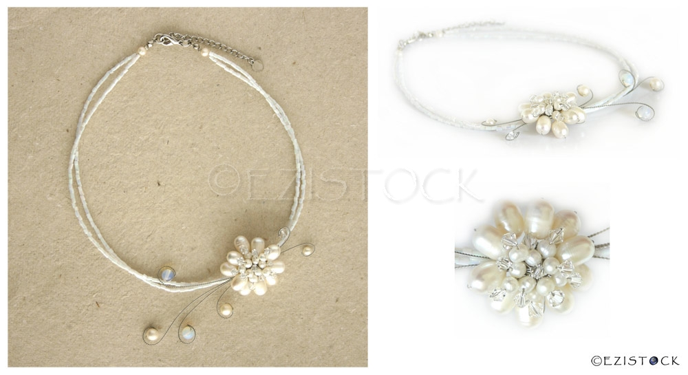 Pearls and quartz flower necklace, 'White Circlets' - Click Image to Close