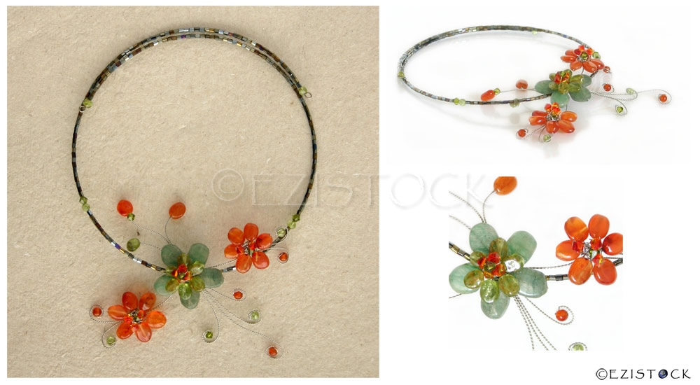 Peridot and carnelian flower choker, 'Floral Trio' - Click Image to Close