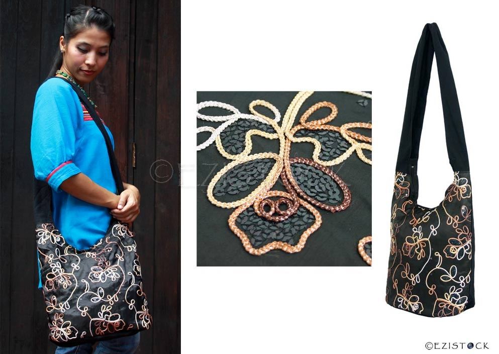 Cotton and polyester shoulder bag, 'Black Garden' - Click Image to Close