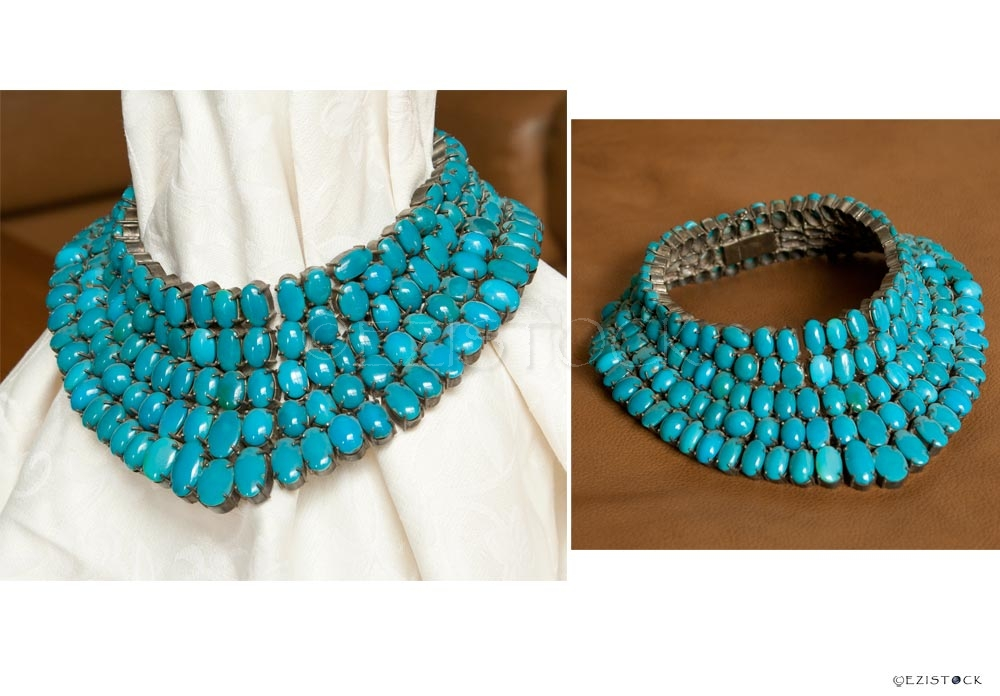 Turquoise and silver necklace, 'Blue Goddess' - Click Image to Close