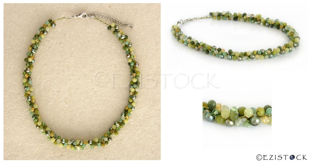 Jade and citrine cluster necklace, 'Green Mystery' - Click Image to Close
