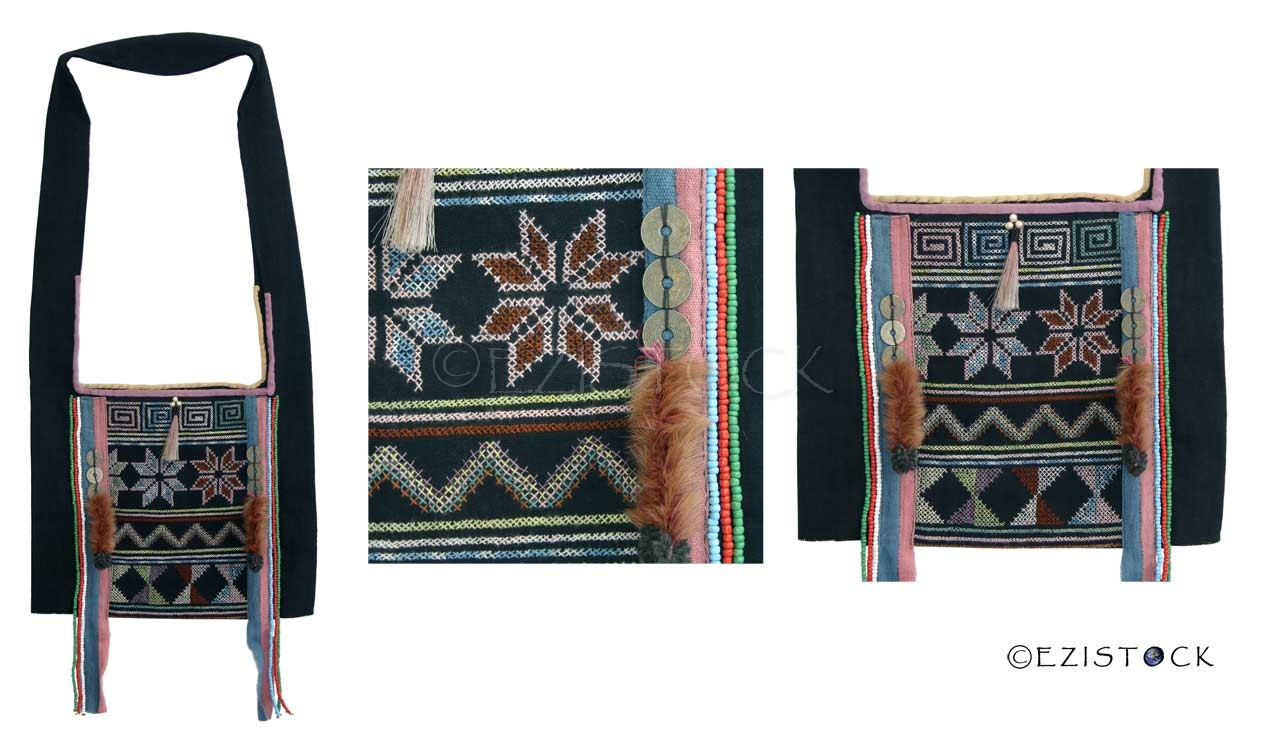Akha cotton shoulder bag, 'Ethnic Harvest' - Click Image to Close