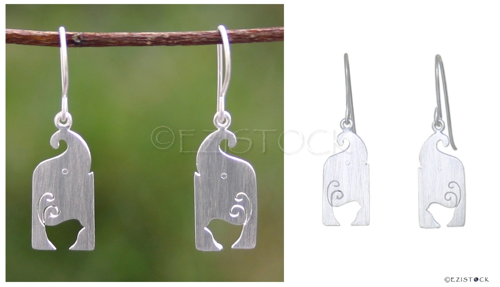 Sterling silver dangle earrings, 'Happiness and Luck' - Click Image to Close