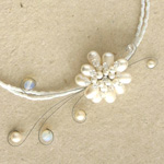 Pearls and quartz flower necklace, 'White Circlets'