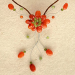 Carnelian and quartzite choker, 'Orange Garden'