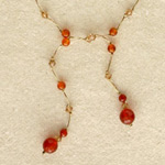 Carnelian necklace, 'Spicy Ginger'