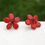 Ceramic button earrings, 'Aurora Flower'