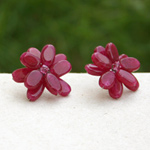 Quartzite button earrings, 'Red Flowers'