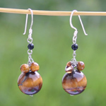 Tiger eye dangle earrings, 'Nutmegs'