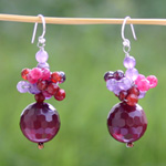 Carnelian and amethyst dangle earrings, 'Vivid Bubbles'