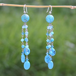 Sterling silver dangle earrings, 'Blue Comets'