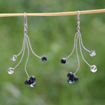 Smoky quartz and onyx dangle earrings, 'Dark Tendrils'