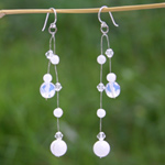 Milky quartz dangle earrings, 'Ice'