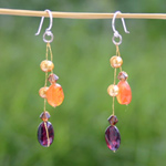 Garnet and carnelian dangle earrings, 'Heat'