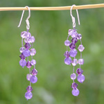 Amethyst waterfall earrings, 'Purple Stardust'