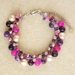Amethyst and garnet cluster bracelet, 'Delightful Berries'