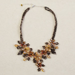 Glass flower necklace, 'Wild Honey'