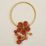 Carnelian and glass choker, 'Amber Passion'