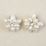 Pearls clip-on earrings, 'Iridescence'