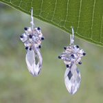 Silver and glass flower earrings, 'Versailles'