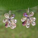 Silver and glass dangle earrings, 'Diamond Hive'
