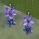 Amethyst flower earrings, 'Prune Blossoms'