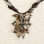 Smoky quartz cluster necklace, 'Dark Droplets'