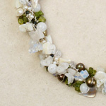 Peridot and milky quartz necklace, 'Winter Garland'