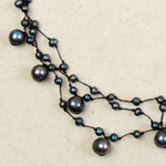 Pearl strand necklace, 'Black Drops'