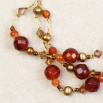Carnelian cluster bracelet, 'Orange Marshmallows'