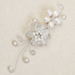 Quartz and pearl flower brooch, 'White Tendrils'
