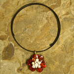 Pearl and resin pendant choker, 'Crimson Bloom'