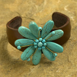 Leather and resin bracelet, 'Sky Flower'