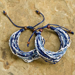 Nylon and raintree wood bracelet, 'Sapphire Floods' (set of 2)