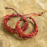 Nylon and raintree wood bracelet, 'Hot Strawberry' (set of 2)