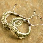 Nylon and raintree wood bracelet, 'Wild Asparagus' (set of 2)