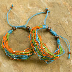 Nylon and raintree wood bracelet, 'Treasure Hunt' (set of 2)