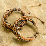 Nylon and raintree wood bracelet, 'Chestnut Sugar' (set of 2)