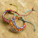 Nylon and raintree wood bracelet, 'Rio Rhythm' (set of 2)