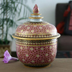 Benjarong porcelain jar, 'Thai Legend'